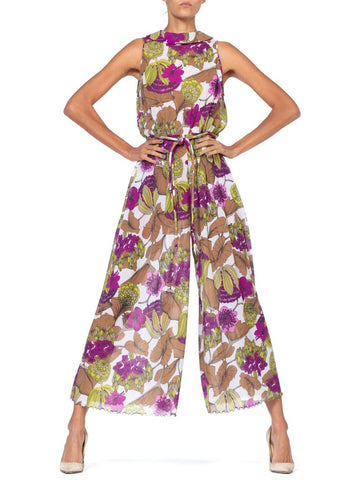 1970S Floral Polyester Georgette Tropical Jumpsuit