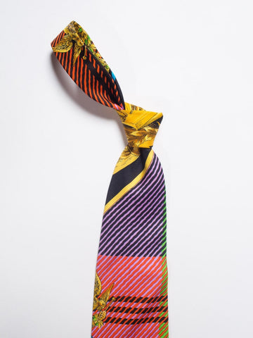 1990S Gianni Versace Baroque Printed Multicolor Plaid Mens Silk Tie