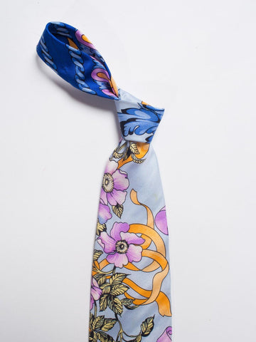 1990S Gianni Versace Pastel Orange, Blue & Purple Baroque Floral Mens Silk Tie