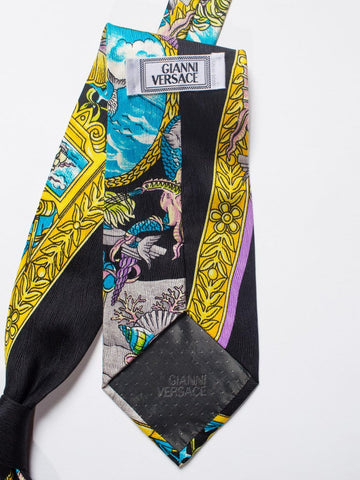 1990S Gianni Versace Nautical Baroque Mens Silk Tie
