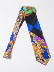 Early 1990s Gianni Versace Hand-Printed Gold Baroque Mens Tie