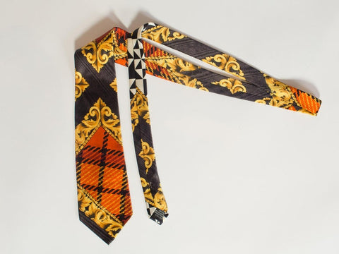 1990S Versus By Gianni Versace Gold Scroll & Plaid Printed Silk Mens Tie