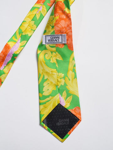 1990S Gianni Versace Orange, Gold & Lime Baroque Scroll Silk Mens Tie