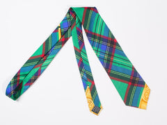 1990S Gianni Versace Green Plaid Mens Silk Tie