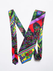 1990s Mens Gianni Versace Chinese Floral Silk Tie