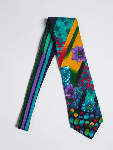 1990S Gianni Versace Multicolor Geometric Floral Mens Silk Tie