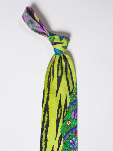 1990S Gianni Versace Lime Zebra Tiger Mens Silk Tie