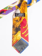 1990s Gianni Versace Atelier Equestrian Horse Print Mens Silk Tie
