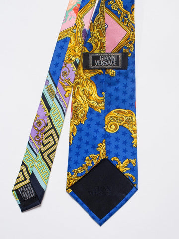 1990S Gianni Versace Baroque Floral & Star Dot Mens Silk Tie