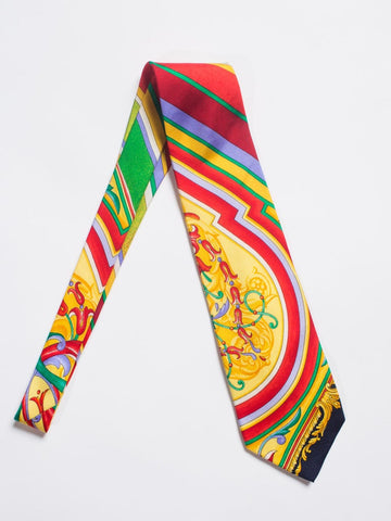 1990S Gianni Versace Baroque Striped Silk Mens Tie