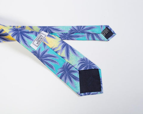 1990S Gianni Versace Miami Tossed Palms Silk Mens Tie
