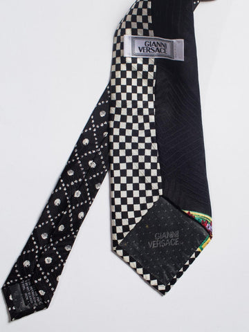 1990S Gianni Versace Op-Art Baroque Silk Mens Tie