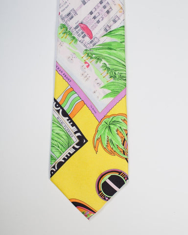 1990S  Gianni Versace Miami Beach Post Card Mens Silk Tie