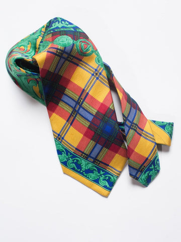 1990S  Gianni Versace Baroque Green Plaid & Scroll Silk Mens Tie