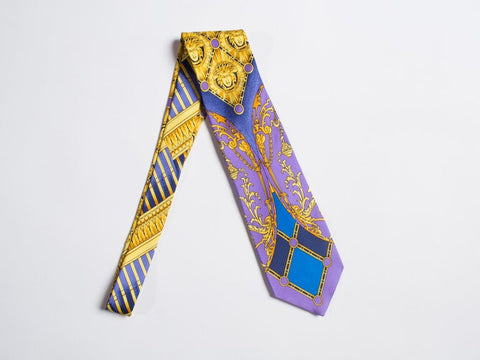 1990S Gianni Versace Baroque Gold Medusa Silk Mens Tie