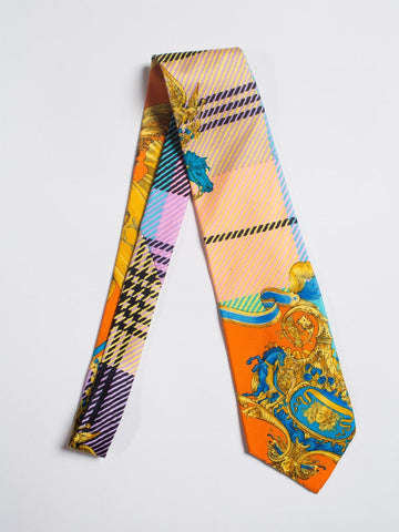 1990S Gianni Versace Atelier Plaid & Scroll Mens Silk Tie