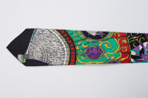 1990S Gianni Versace Art Deco Fan Print Mens Silk Tie