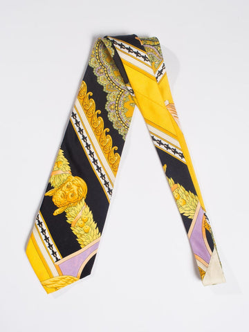 1990S Gianni Versace Gold, Yellow & Purple Baroque Men's Silk Tie