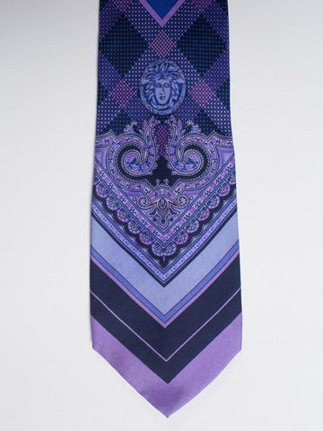 1990S  GIANNI VERSACE Blue & Purple Medusa Logo Men's Silk Tie