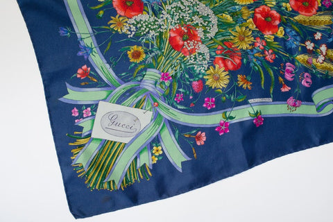 1970S Gucci V. Accornero Hand Printed Floral Bouquet Silk Scarf