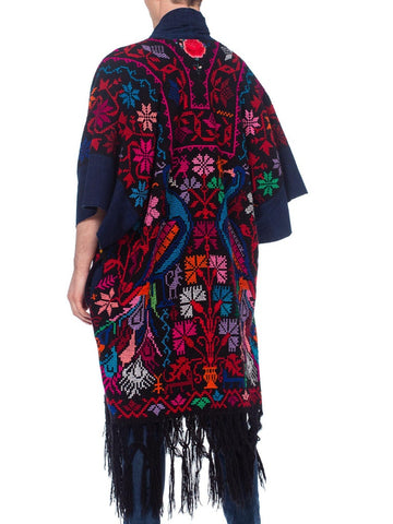 Morphew Collection Hand Embroidered Kimono Coat With Indigo Details