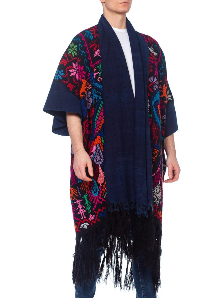 Morphew Collection Hand Embroidered Cotton & Acrylic Kimono Sleeve Peacock Duster