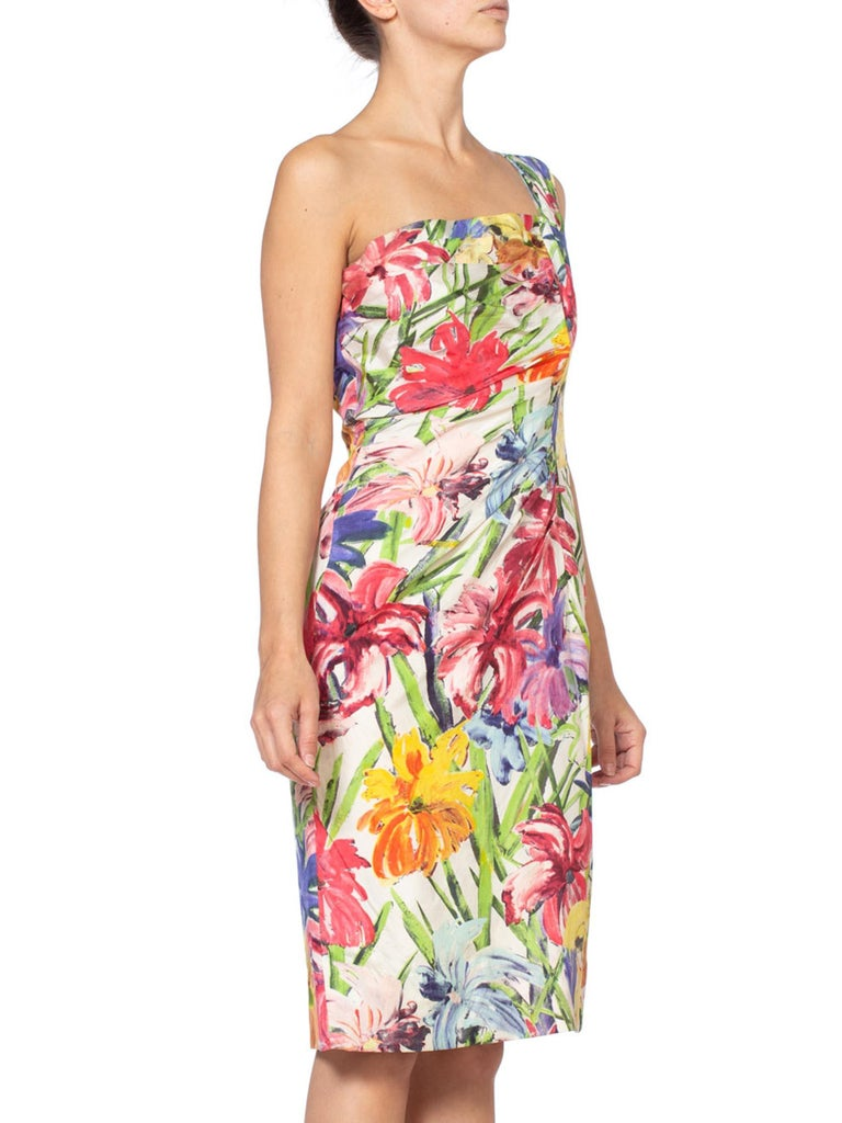 1950S  Rainbow Tropical Silk Formal Day Cocktail Dress
