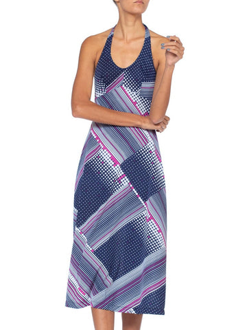 1970S Geometric Polyester Jersey Disco Halter Maxi Dress Made In Italy