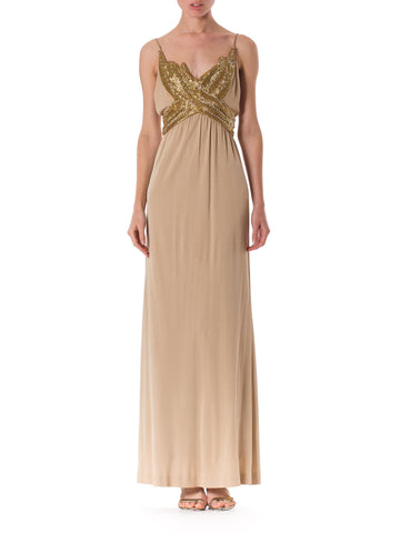 Hand Beaded 1970s Silk Jersey Gown