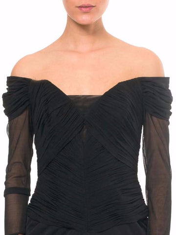 1980S VICKY TIEL COUTURE Black Poly Blend Net Off Shoulder Sheer Sleeved Corset Waist Cocktail Dress
