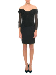 Vicky Tiel Couture Boned Dress with Sheer Net and Jersey