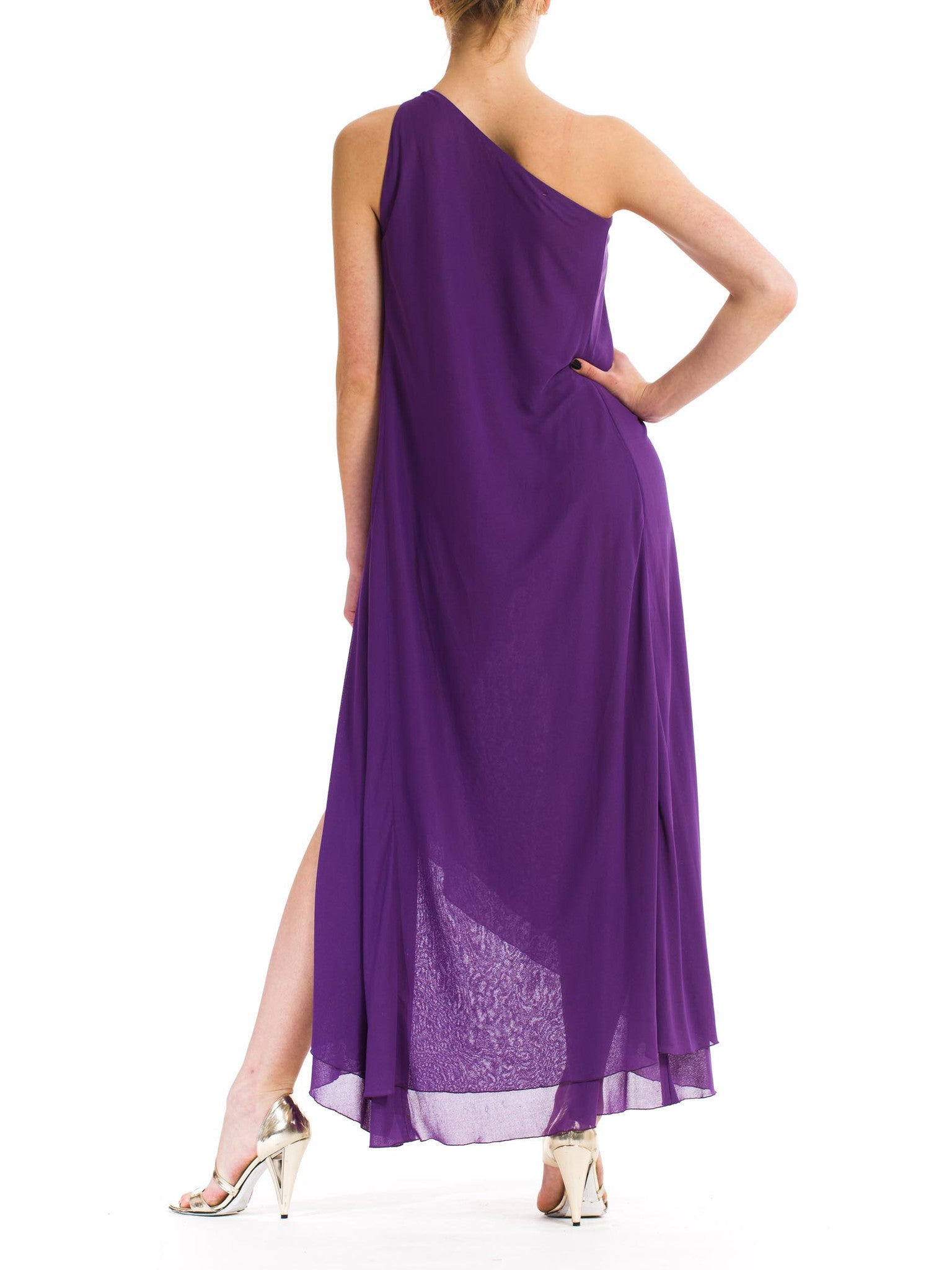 1970S JONATHAN HITCHCOCK Purple Rayon & Nylon Chiffon Jersey One Shoulder Disco Wrap Dress With Crystals