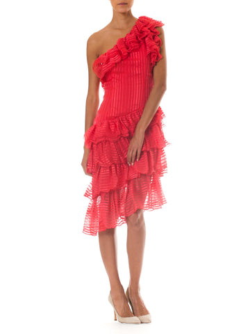 1970s Couture Grade Ruffled Silk Dress