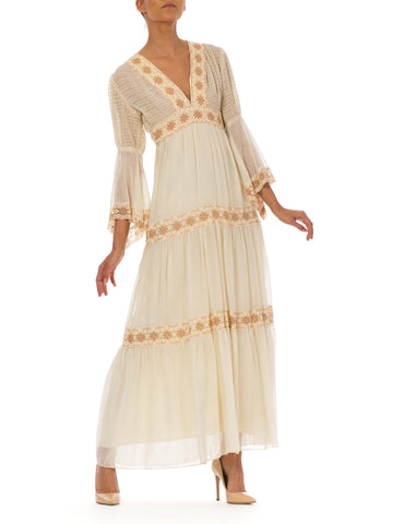 1970s Boho Peasant Lace Bell Sleeve Tie Waist Cotton Bridal Maxi Dress