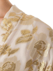 1980s Chiffon Jacket Woven with Gold Flowers
