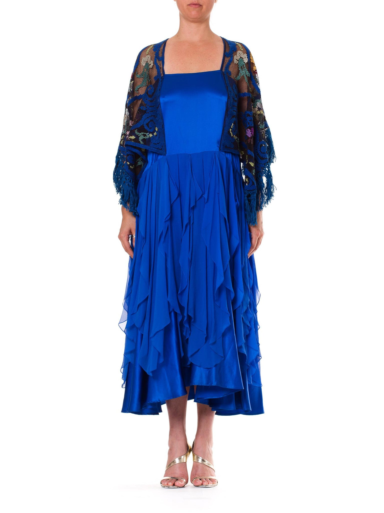 Morphew Collection Blue Silk Charmeuse  & Chiffon Dress With Antique Lace Sleeves