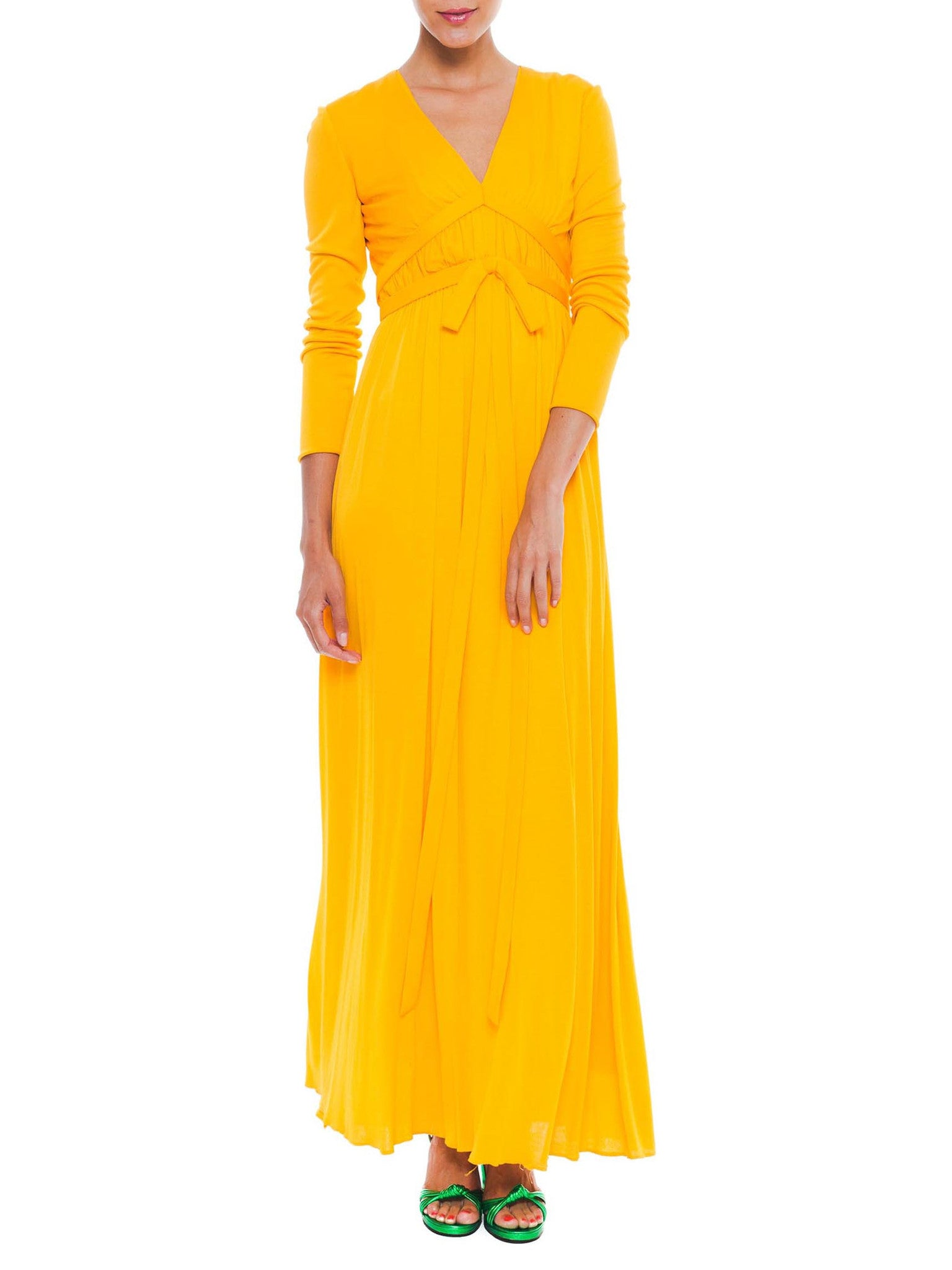 1970S MALCOLM STARR Yellow Orange Rayon Jersey Long Sleeve Empire Waist Gown With Bow Belt