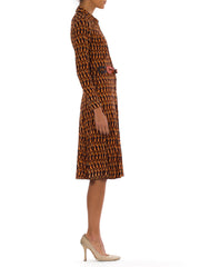 1970s Geometric Mod Print Buttoned Front Long Sleeve Leather Detailed Belt Midi Dress