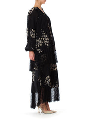 1970s Hannae Mori Floral Printed Pleated Silk and Black Lyon Lace Bishop Sleeve Maxi Dress