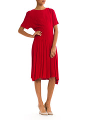 Glamorous Vintage 1970's bright Red Pleated Dress