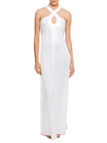 1970s White Jersey Godess Gown