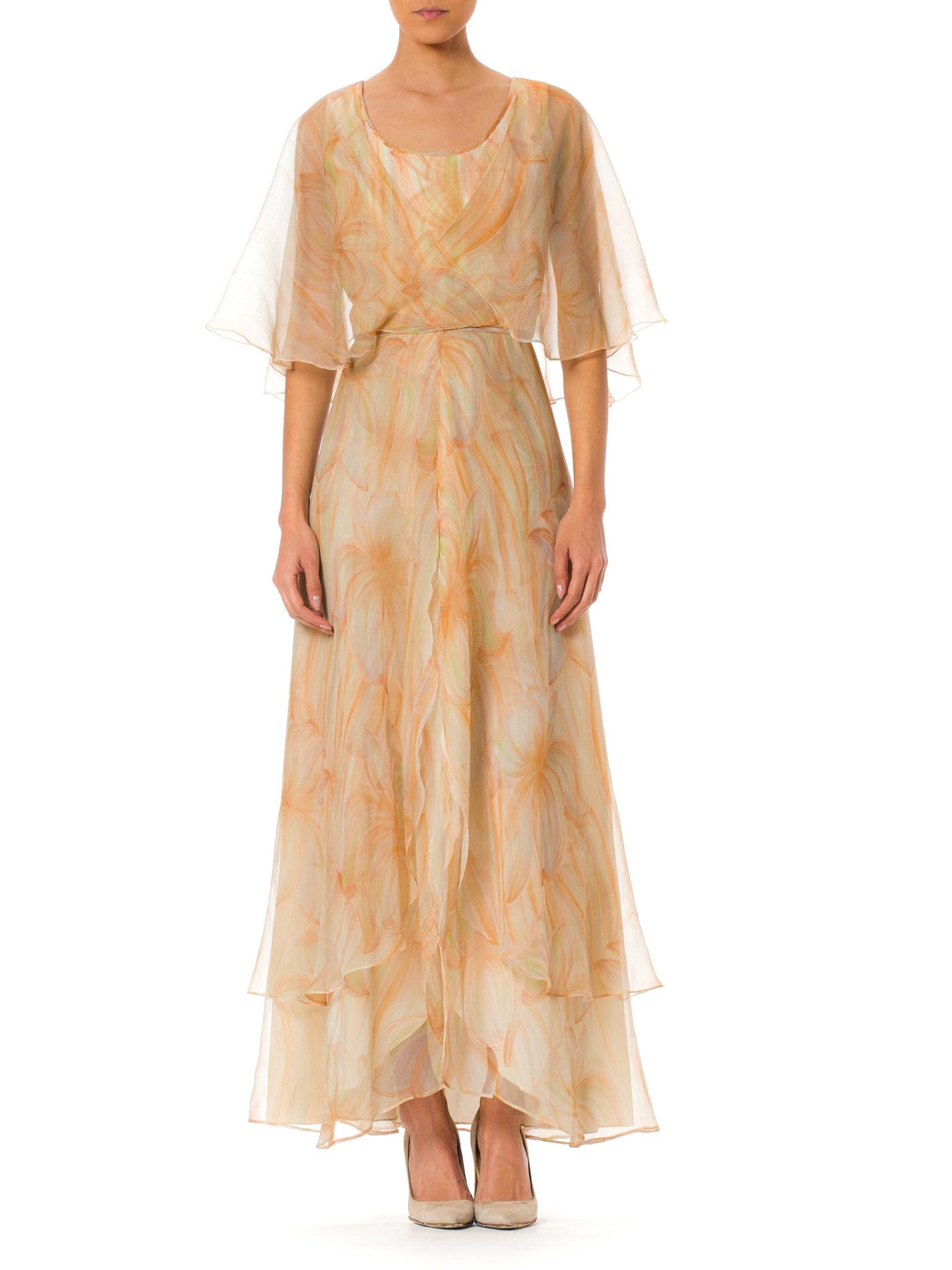 1970S MR BLACKWELL CUSTOM Polyester Chiffon Pastel Brushstroke Print Tiered Gown With Cape Sleeves
