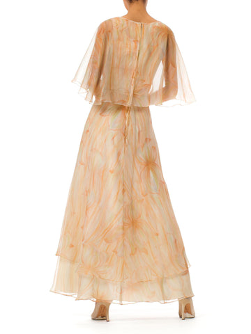 1960S Chiffon Mr.Blackwell Floral Printed Silk Layered Maxi Dress