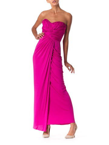 1970s Strapless Jersey Gown with Boned Bodice