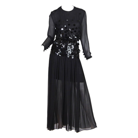 1980S PAULINE TRIGERE Black Beaded Silk Chiffon Long Sleeve Gown