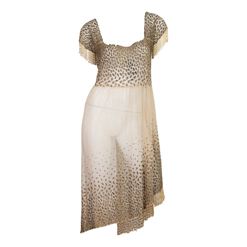 Glamorous Vintage 1920's Sheer Gold Lame Dress