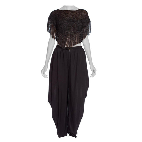 Loris Azzaro Couture 1970's Silk Jersey + Chain Fringe Crop Top