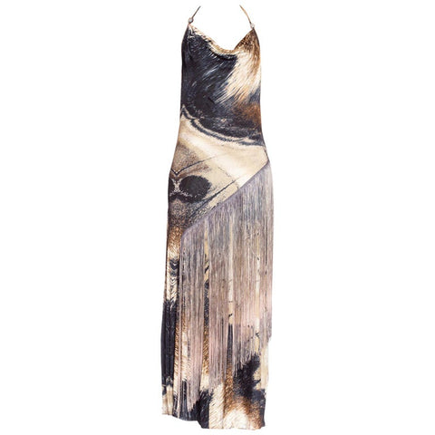 Roberto Cavalli Slinky Jersey Cowl Dress With Silver Metallic + Fringe Details
