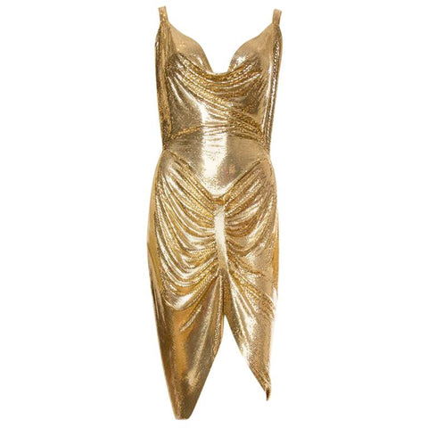 Morphew Collection Gold Metal Mesh Dress
