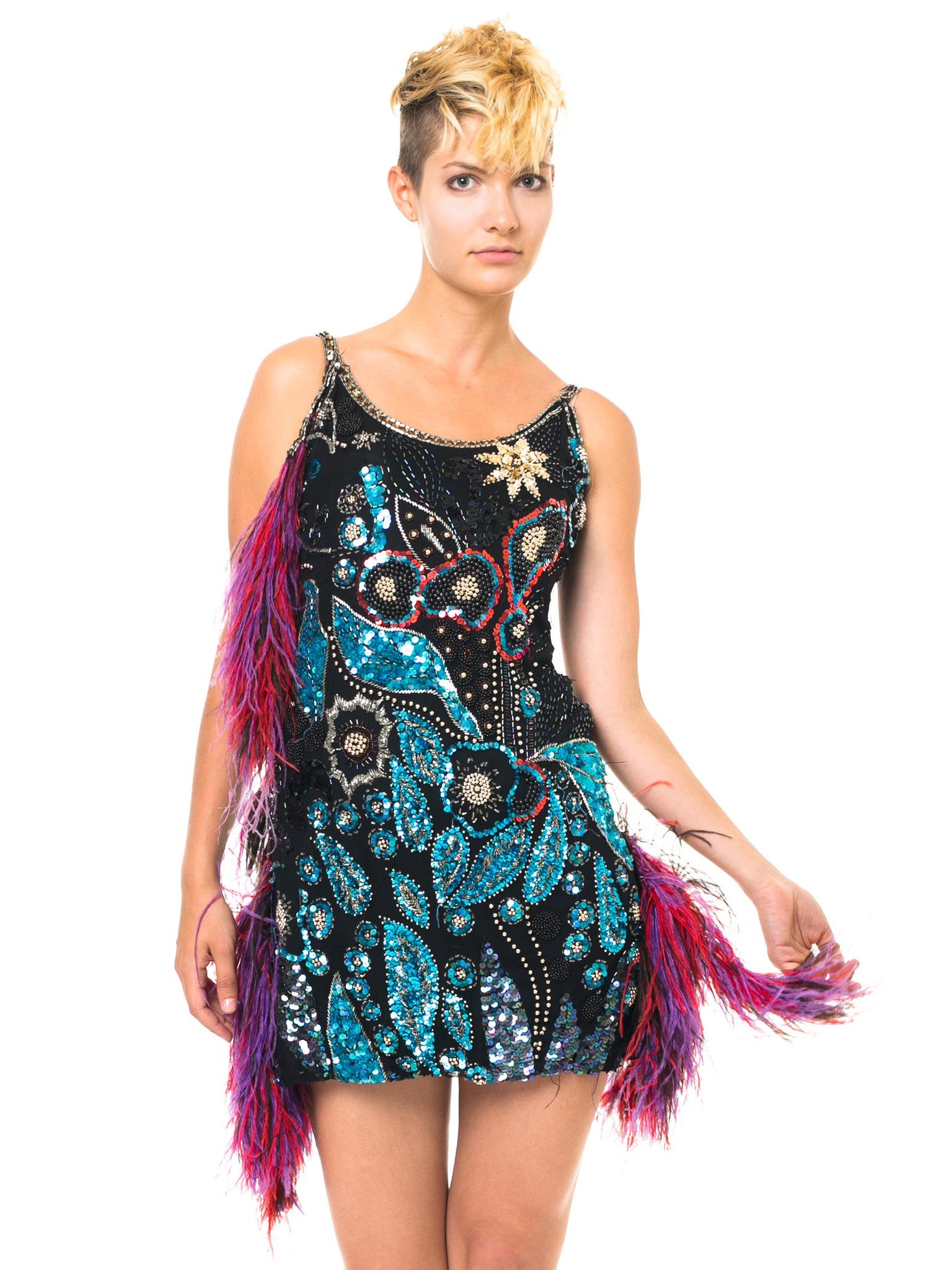 Colorful Fun And Sparkly Cocktail Dress With Fringe Detail